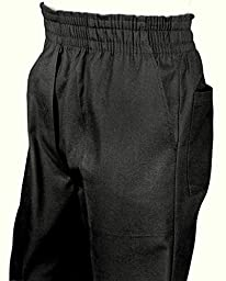 Mens Full Elastic Waist Pants with Mock Fly (XL, Black)