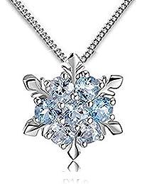 Women Girls Jewelry Elsa Frozen Snowflake Sterling Silver Necklace With Blue Pendant By Leaf Heart