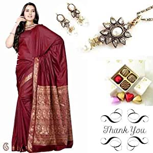 Art Silk Saree, Kundan Set, Chocolates Sister Rakhi Thank You Hamper