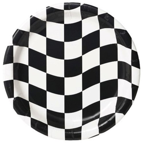 Creative Converting 8 Count Round Dessert Plates, Black And White Check