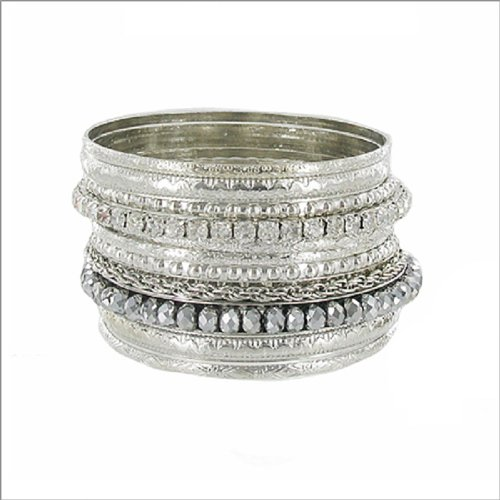 JOA Stackable W Bead Accent Bangle Bracelet #040493