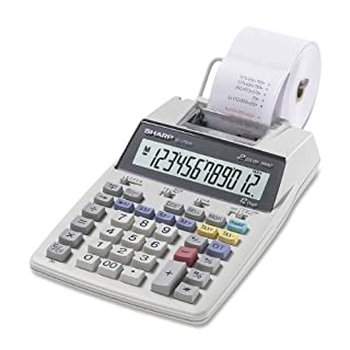 Sharp EL-1750PIII Portable Printing Color Calculator with Clock and Calendar - White