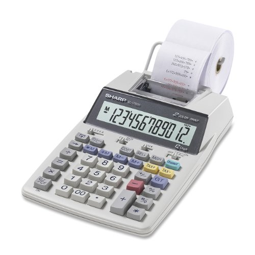 Sharp EL-1750V Portable Printing Calculator with Clock and Calender