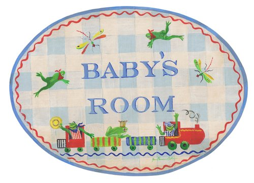 The Kids Room by Stupell Baby's Room with Frogs on a Train Oval Wall Plaque