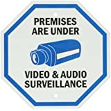 "SmartSign Aluminum Sign, Legend ""Premises Are Under Video & Audio Surveillance"" with Graphic, 12"" tall octagon, Black/Blue on White"