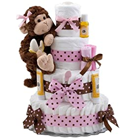 ... & Best Buy Our Lil' Monkey 4 Tier Diaper Cake Pink Price On Sale