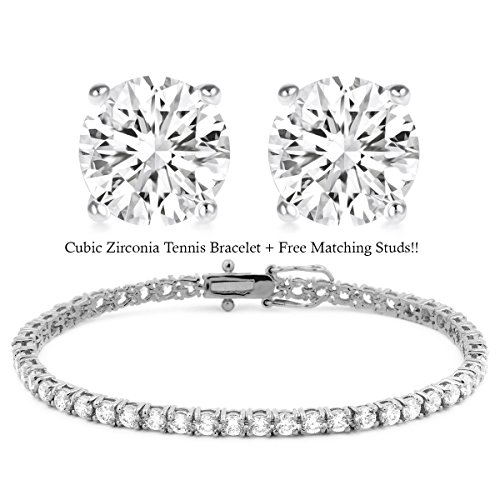 BSD Treasure 18K White Gold Plated Cz Tennis Bracelet and Stud Earrings Set (Classic Tennis (Earrings And Bracelet Set)