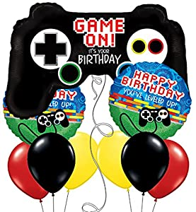 Custom, Fun & Cool 9 Pack of Helium & Air Inflatable Mylar Aluminum Foil/Latex Rubber Balloons w/ Video Game Controller Gaming Birthday Design [Variety Assorted Multicolor in Black Red Yellow & Blue]