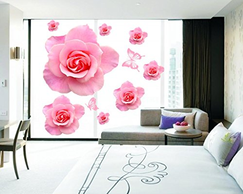 Apexshell (Tm) Big Pink Rose Flowers Removable High Quality Decorate Wall Decal Sticker Decor For Kids, Home, Nursery Room, For Children'S Bedroom front-547023