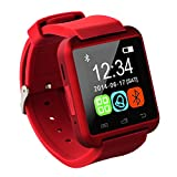 Tera U8 LCD Touch Screen Intelligent Bluetooth Watch Bracelet Wristband Pedometer Barometer Altimeter Color Red with Steps Tracking Phone Anti-lost Call Message Sync