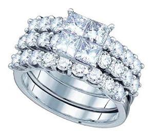 Pricegems 14K White Gold Ladies Princess Diamond Invisible Set Bridal Ring Size: 5.25)