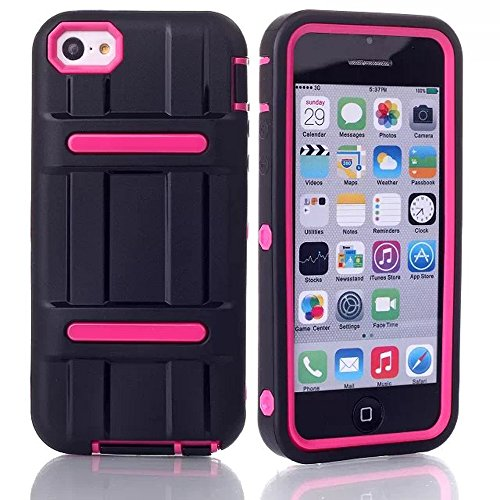 Meaci® Iphone 5C Combo Hybrid Defender High Impact Body Armorbox Hard Pc&Silicone Case With 1X Diamond Anti-Dust Plug Stopper-Random Color (Light Pink)