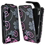Accessory Master Hard Shell for Nokia Asha 300 Leather with Black / Pink Flower Design