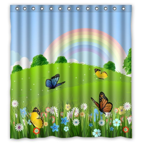 Fashion Cartoon Beautiful Butterflies Pretty Flowers And Cute Rainbow Shower Curtain 66