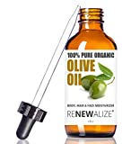 Organic Extra Virgin OLIVE OIL Skin Moisturizer in Convenient Sized 4 oz. Dark Glass Bottle with Glass Eye Dropper | Highest Quality 100% Pure , Unrefined , Cold Pressed Oil