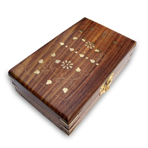 Hand Engraved Wooden Jewelry Box With Brass Pieces Corners