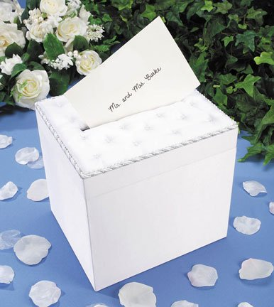 Darice VL8132722F Wedding Satin Card Box with Crystal Flip Top Opening, White (Lids Gift Cards Store compare prices)