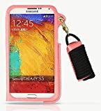 Feelglad (TM) Pu Leather Cover Protection Shell Case with Adjustable Detachable Neck Lanyard GEL Hanging Neck Strap Lanyard Holder Card Folding Stand for Samsung Galaxy S5 I9600 (A-Pink)
