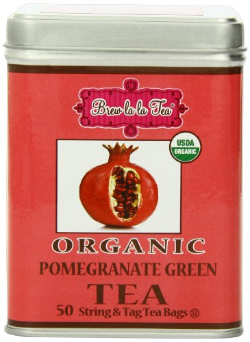 Brew La La Tea Organic Green Tea Bags, Pomegranate, 100 Count