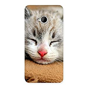 Stylish Sleeping Cat Multicolor Back Case Cover for HTC One M7
