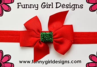 Holiday Sparkle Bow Elastic Baby Headband (0-12 Months, Red Band/Red & Green Bow)