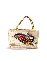 Arisha Kreation Co Women Hand Made Hand Bag (Beige) - B00XPMDOQW