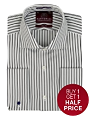 Sartorial Slim Fit Pure Cotton Bold Striped Shirt