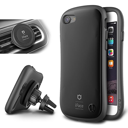 IPhone 7 Case e Car Holder, caso duro iFace [Duo Series] 2in1 robusta protezione con Magnetic Air Vent Car Mount Kickstand per Apple iPhone 7 (2016) - Spazio Nero