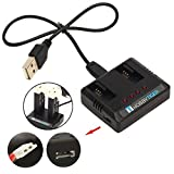 HOBBYTIGER 2-in-1 USB 充電器 適用 Hubsan X4 Cam Plus H107C+ H107D+ Plus FPV ドローン スペアパーツ
