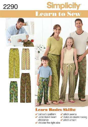 Simplicity Sewing Pattern 2290 Child's, Teens' and Adults' Pants, A (XS - L / XS - XL)