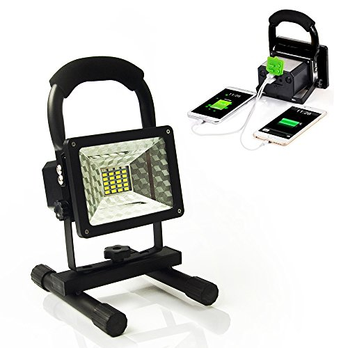 Vaincre 15W 24LED Outdoor Floodlight Camping Lights Portable LED Work Lights, Built-in Rechargeable Lithium Batteries with USB Ports to charge Mobile Devices (Product Works Ultra Led 15 Lights compare prices)