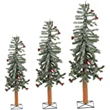 Unlit Frosted Alpine Artificial Christmas Tree (Set of 3) Color: White / Red