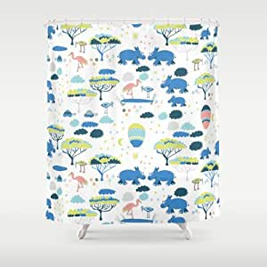 Society6 Clear Night Rhino Shower Curtain By Sarah Price Design