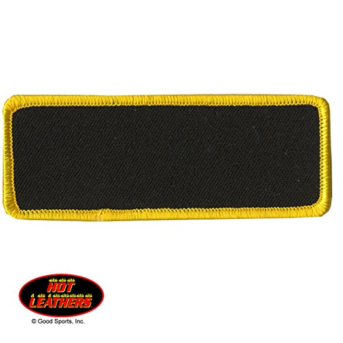 Hot Leathers, BLANK with YELLOW TRIM, Iron-On / Saw-On Rayon PATCH - 4