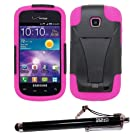 SOGA® Black on Hot Pink Hybrid Cover Case Kickstand for Samsung Galaxy Proclaim 720C SCH-S720C / illusion i110 with SogaWireless Stylus Pen [SWG249]