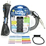 Cable Buddy 5-pack, Black - Cable Organizer Ties with Color ID Labels