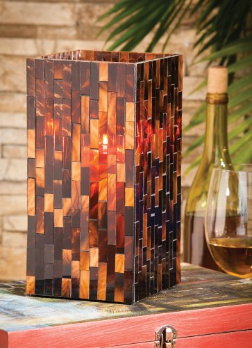 Lighting, Mosaic Square Glass Candle Holder