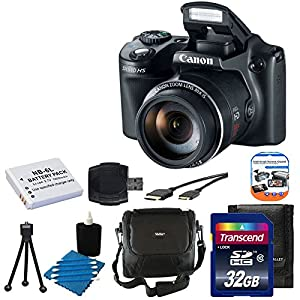 Canon PowerShot SX510 HS 12.1 MP CMOS Digital Camera with 30x Optical Zoom and 1080p Full-HD Video + Extra Battery + 32GB Class 10 Card Complete Deluxe Accessory Bundle And Much More