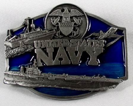 United States Navy Enamel Pewter Belt Buckle