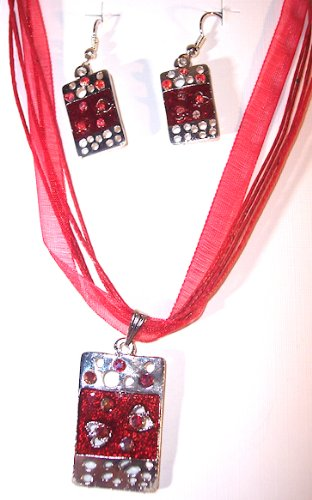 Silvertone with Red Color Enamel Abstract Necklace and Earring Set Nickle Free
