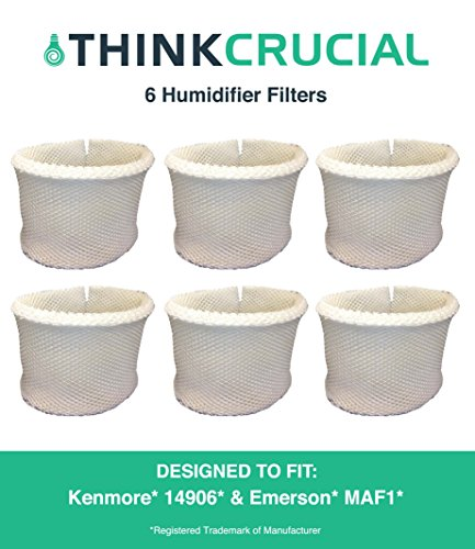 6 Kenmore & Emerson Humidifier Wick Filters, Fits Kenmore EF1 14906 & Emerson MAF1, Compare to Kenmore Part # 42-14906, 14906, EF1, MAF1, Designed & Engineered by Crucial Air