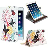 32nd® Designer book wallet 360 degree revolving case cover for Apple iPad 2 3 4 + screen protector and cloth - Colour Butterfly