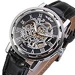 GuTe Classic Steampunk Mechanical Wristwatch Black Skeleton Auto Black Silver Watch Case