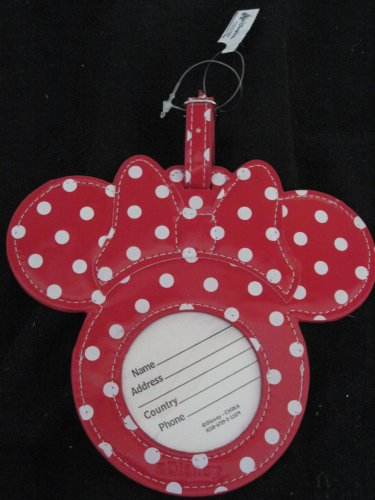 Disney Minnie Mouse Head Red and White Dress Luggage Tag - 1