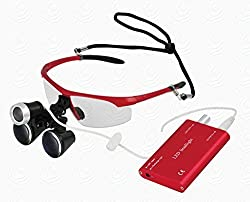 High Quality Colorful Dental Surgical Binocular Loupes Optical Glass Loupe 3.5X420mm with LED Head Light Lamp by East Dental (Red)