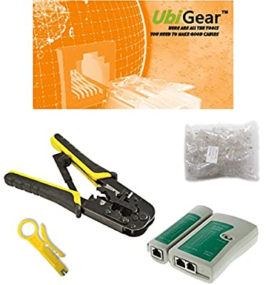 UbiGear Cable Tester +Crimp Crimper +100 RJ45 CAT5 CAT5e Connector Plug Network Tool Kits