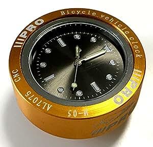 【3world】自転車 トップキャップ かんたん 取付 用 ウォッチ アナログ 時計 見やすい シンプル な デザイン で かっこいい ! 選べる カラー(ゴールド)