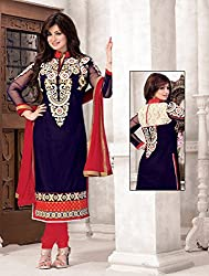 SareeShop Womens Georgette Unstitched Salwar Suit Dress Material (AyeshaBaby _Blue_Free Size)