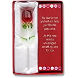 Glass Rose Valentine Gift Set; Show your Love with this Handmade Glass Rose with Love Poem; Special Packaging to avoid Breakage! Comes ready setup in a Beautiful Valentine Gift Bag!