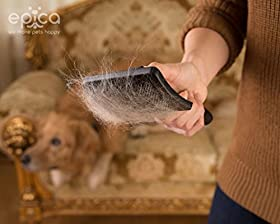 Dog Self-Cleaning Slicker Brush -Painless Cleaning & Grooming, Instant Cleanup. Love It Or Your Money Back! Wet Or Dry, Powerful But Gentle Stainless Steel Bristles, 100% Safe For Your Pet, Keeps Furniture & Clothes Clean, Reduce Shedding -Epica
